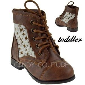 Tan toddler lace bootie